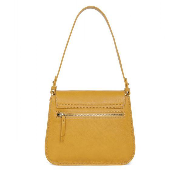 2. Leather bag 1 handle and adjustable shoulder strap Mustard Hexagona