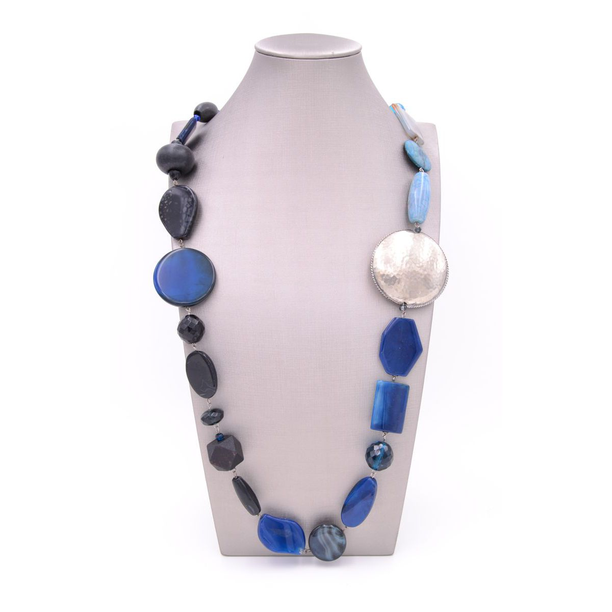 BLUE AND SILVER AGATE NECKLACE Blue BRASS Gioielli