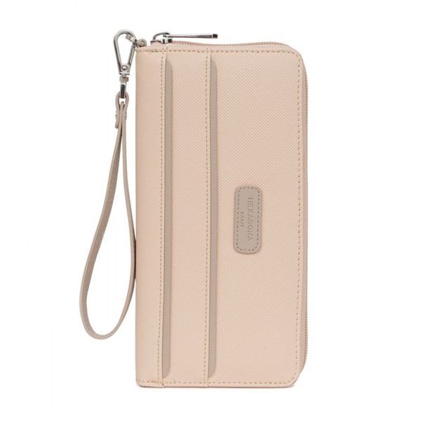 1. Faux leather wallet with wrist strap Pink Hexagona