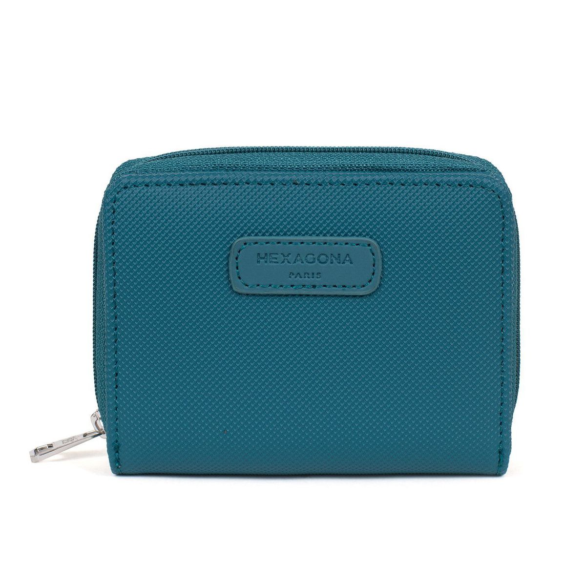 1. Double compartment women's wallet Blue petrol Hexagona