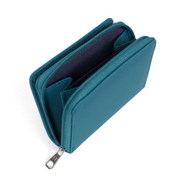 3. Double compartment women's wallet Blue petrol Hexagona