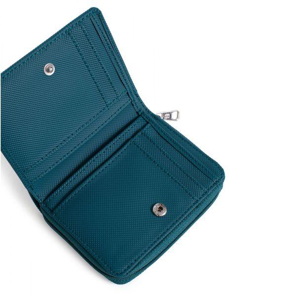 2. Double compartment women's wallet Blue petrol Hexagona