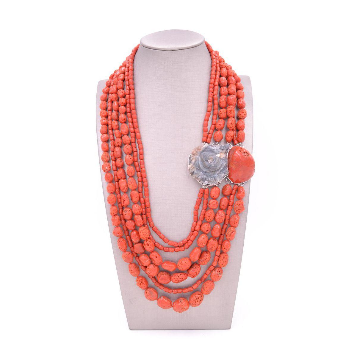 CORAL MULTI-STRAND NECKLACE WITH GEODE Orange Della Rovere