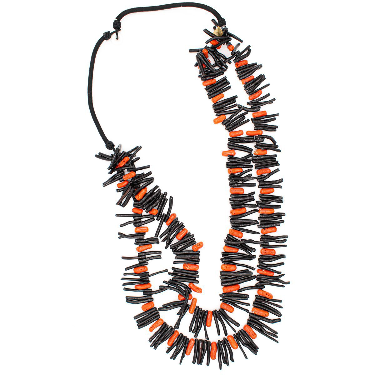 DOUBLE STRAND RED AND BLACK CORAL NECKLACE Black Carola Gioielli