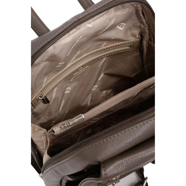 3. Backpack / Shoulder bag in 2 in 1 leather Taupe Hexagona