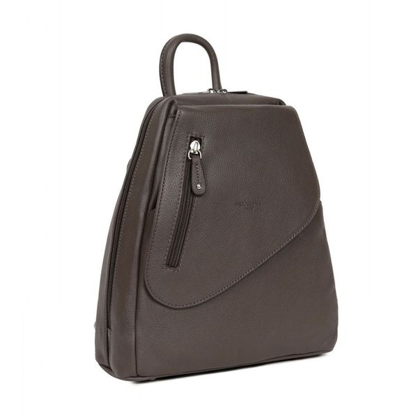 1. Backpack / Shoulder bag in 2 in 1 leather Taupe Hexagona