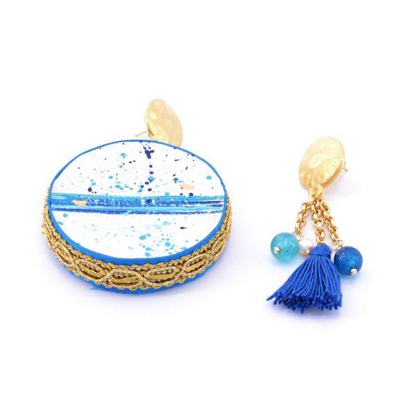 2. Water, Asymmetrical earrings Tambourine Blue Tataratà Bijoux