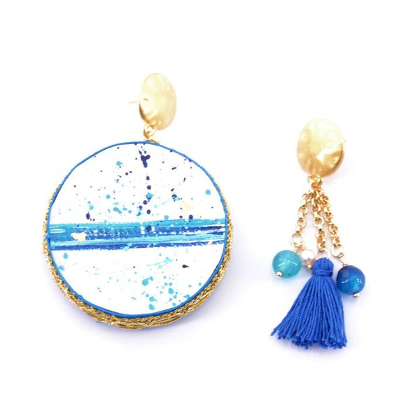 1. Water, Asymmetrical earrings Tambourine Blue Tataratà Bijoux