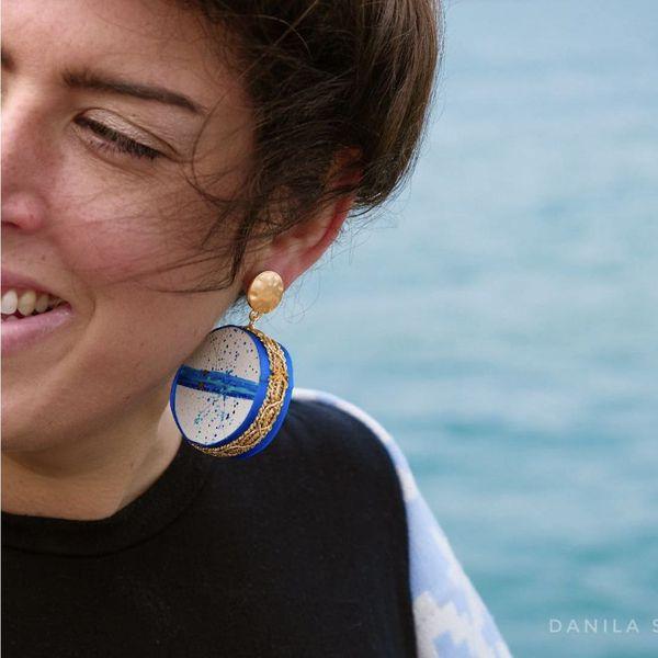 3. Water, Asymmetrical earrings Tambourine Blue Tataratà Bijoux
