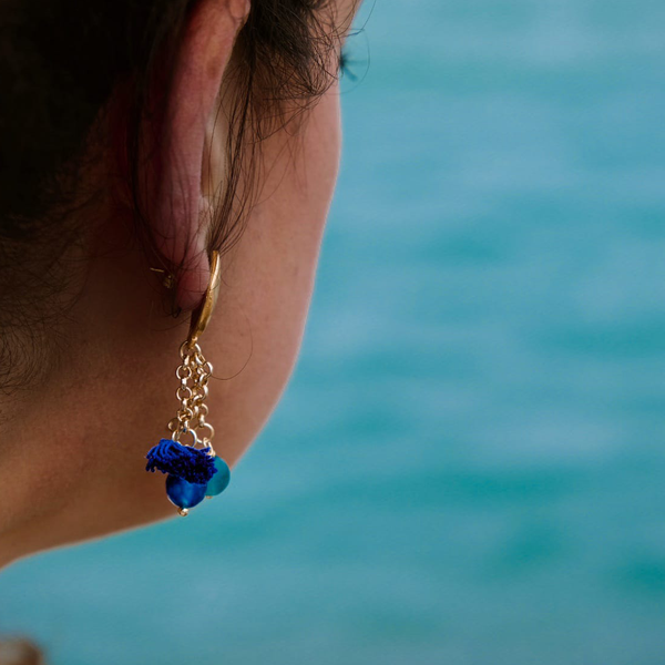 4. Water, Asymmetrical earrings Tambourine Blue Tataratà Bijoux