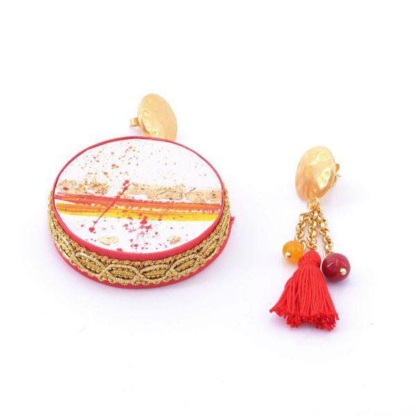 1. Fire, Asymmetrical earrings Tambourine Red Tataratà Bijoux