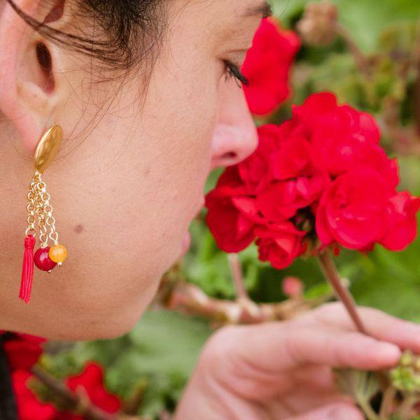 3. Fire, Asymmetrical earrings Tambourine Red Tataratà Bijoux