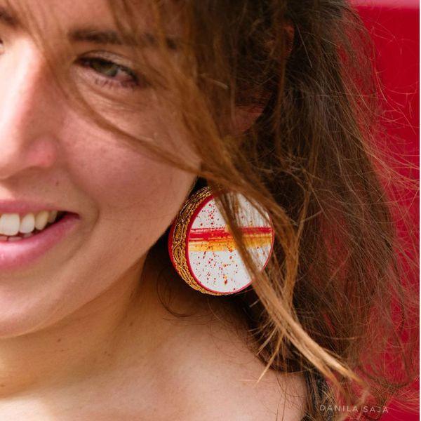 2. Fire, Asymmetrical earrings Tambourine Red Tataratà Bijoux