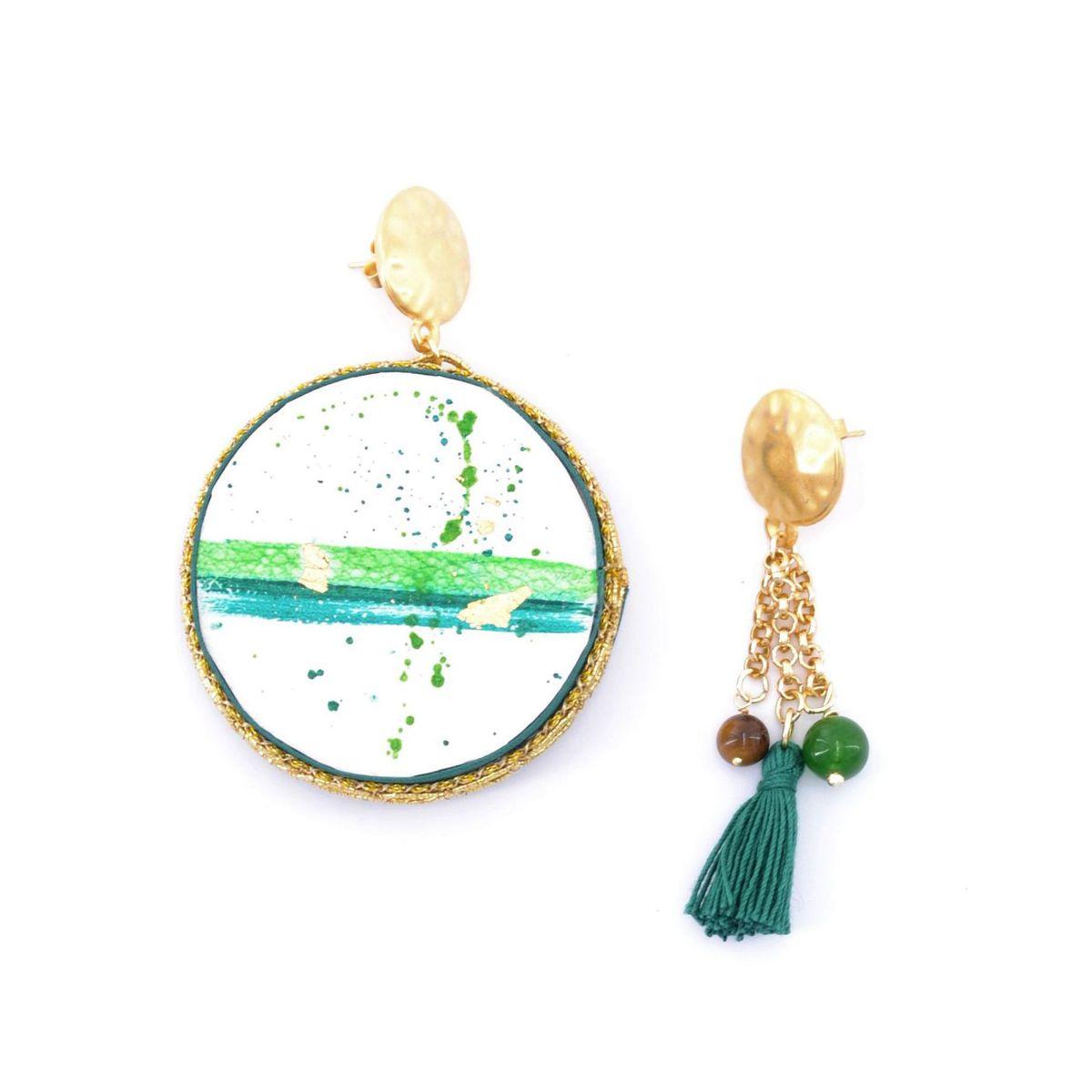 1. Earth, Asymmetrical earrings Tambourine Green Tataratà Bijoux