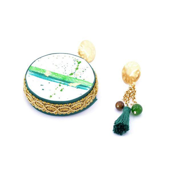 2. Earth, Asymmetrical earrings Tambourine Green Tataratà Bijoux