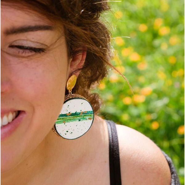 3. Earth, Asymmetrical earrings Tambourine Green Tataratà Bijoux
