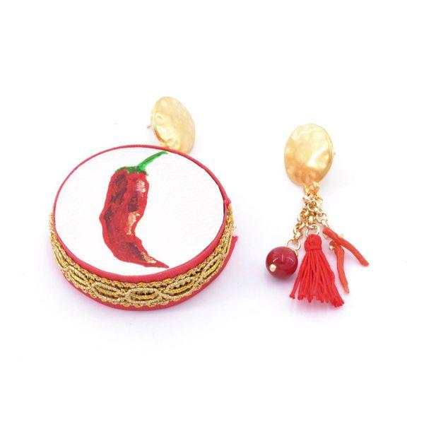1. Pepper, Asymmetrical earrings Tambourine Red Tataratà Bijoux