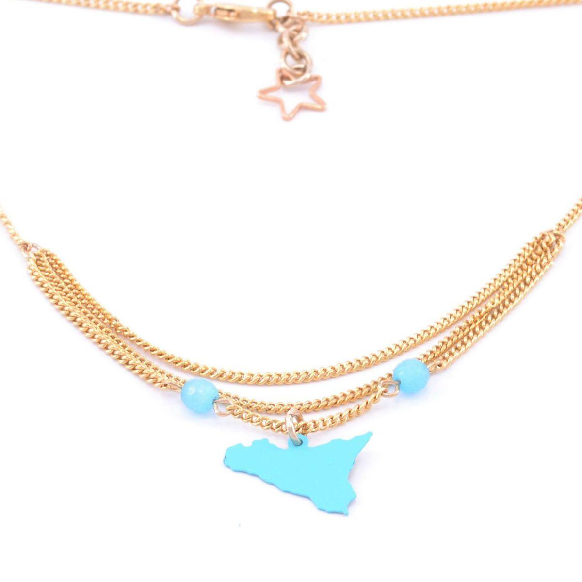 1. Sicily triple chain pendant necklace light blue Antùra Accessori
