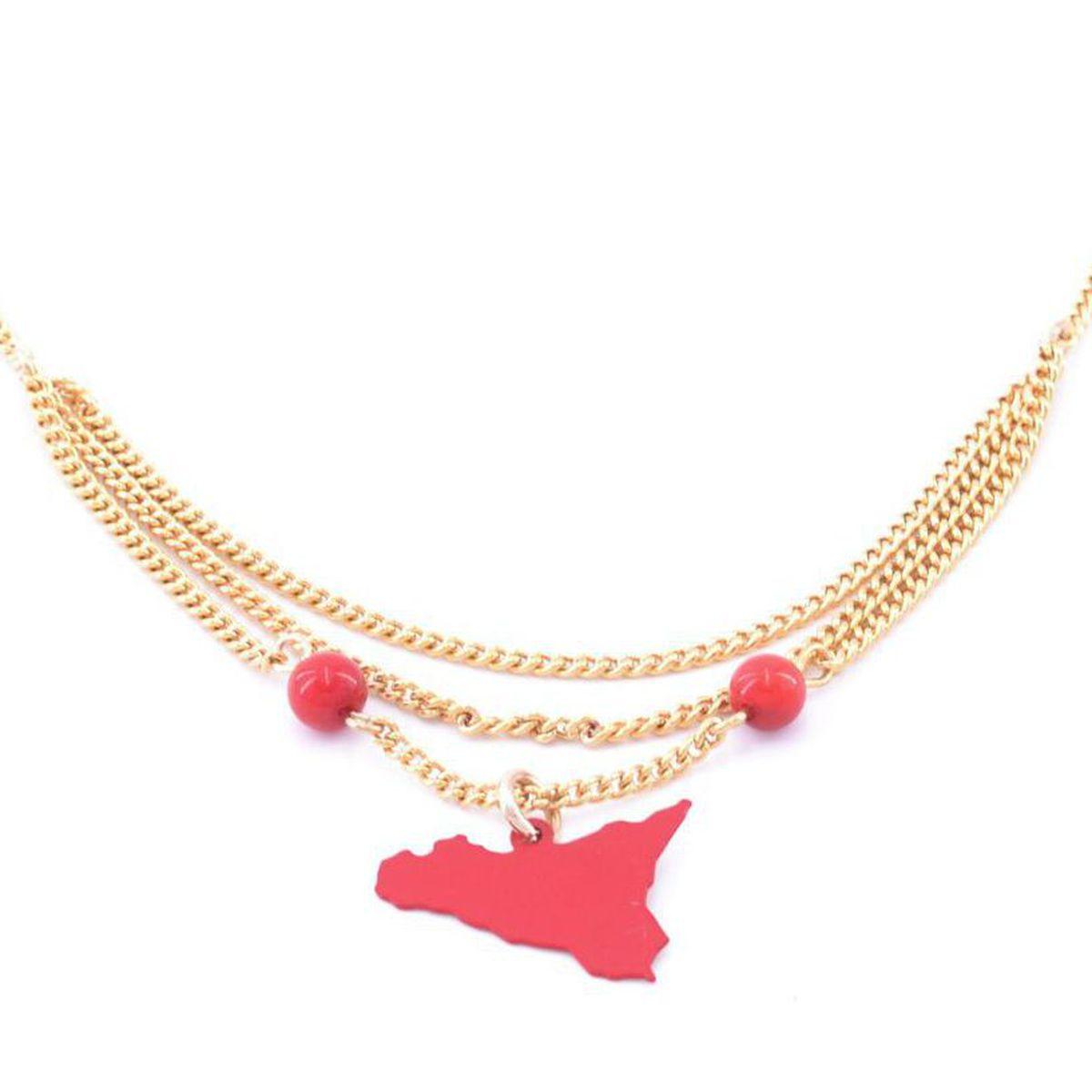 1. Sicily triple chain pendant necklace red Antùra Accessori