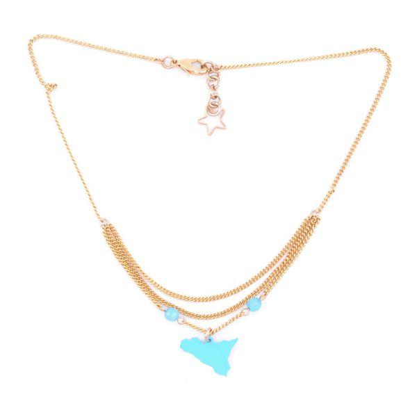 2. Sicily triple chain pendant necklace light blue Antùra Accessori