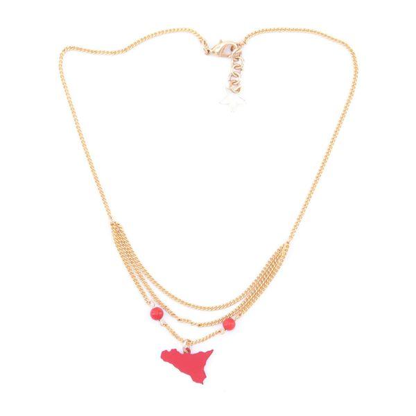 2. Sicily triple chain pendant necklace red Antùra Accessori