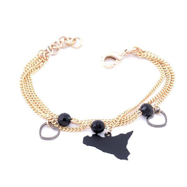1. Triple chain bracelet with sicily pendant black Antùra Accessori