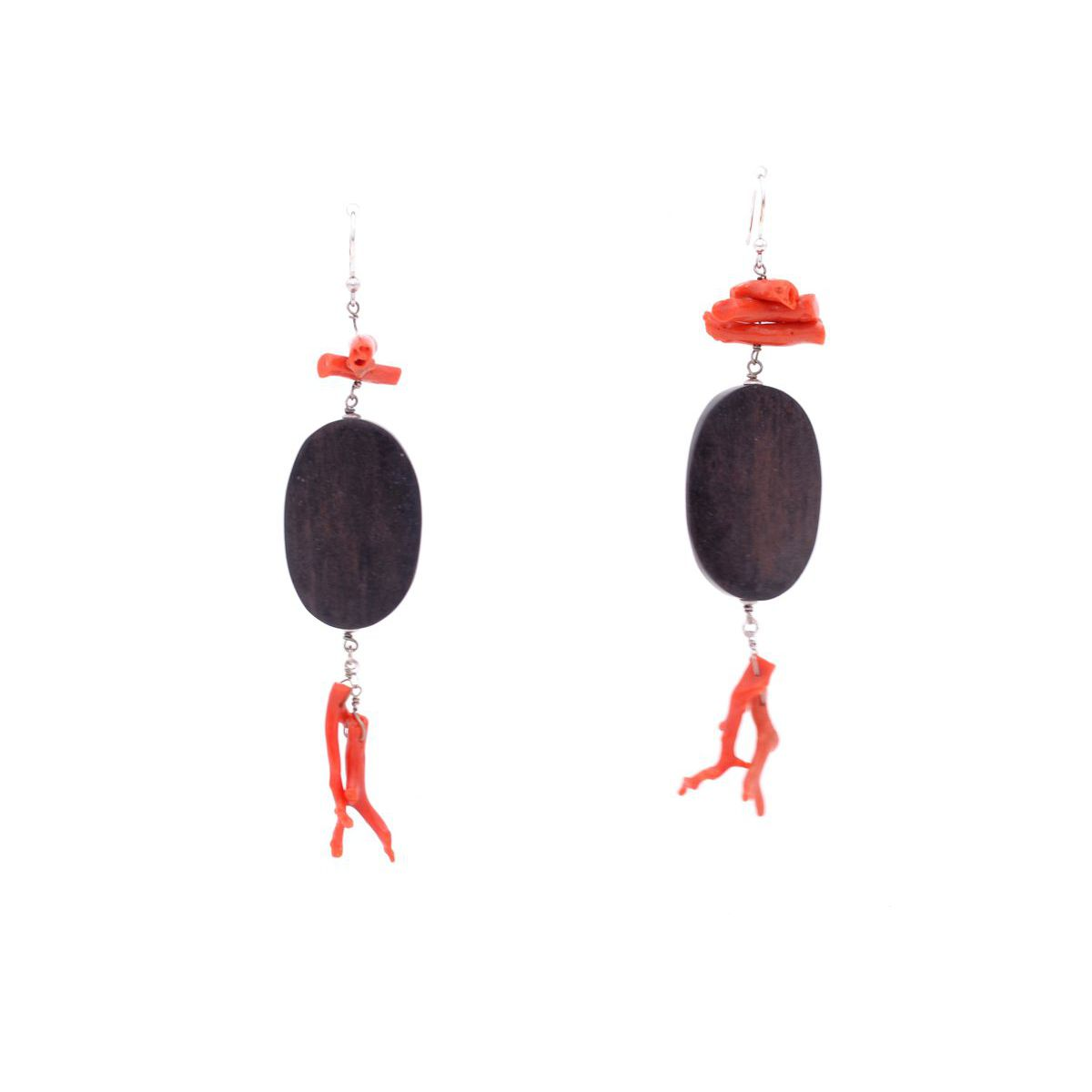 EARRINGS WOOD AND CORAL Red BRASS Gioielli