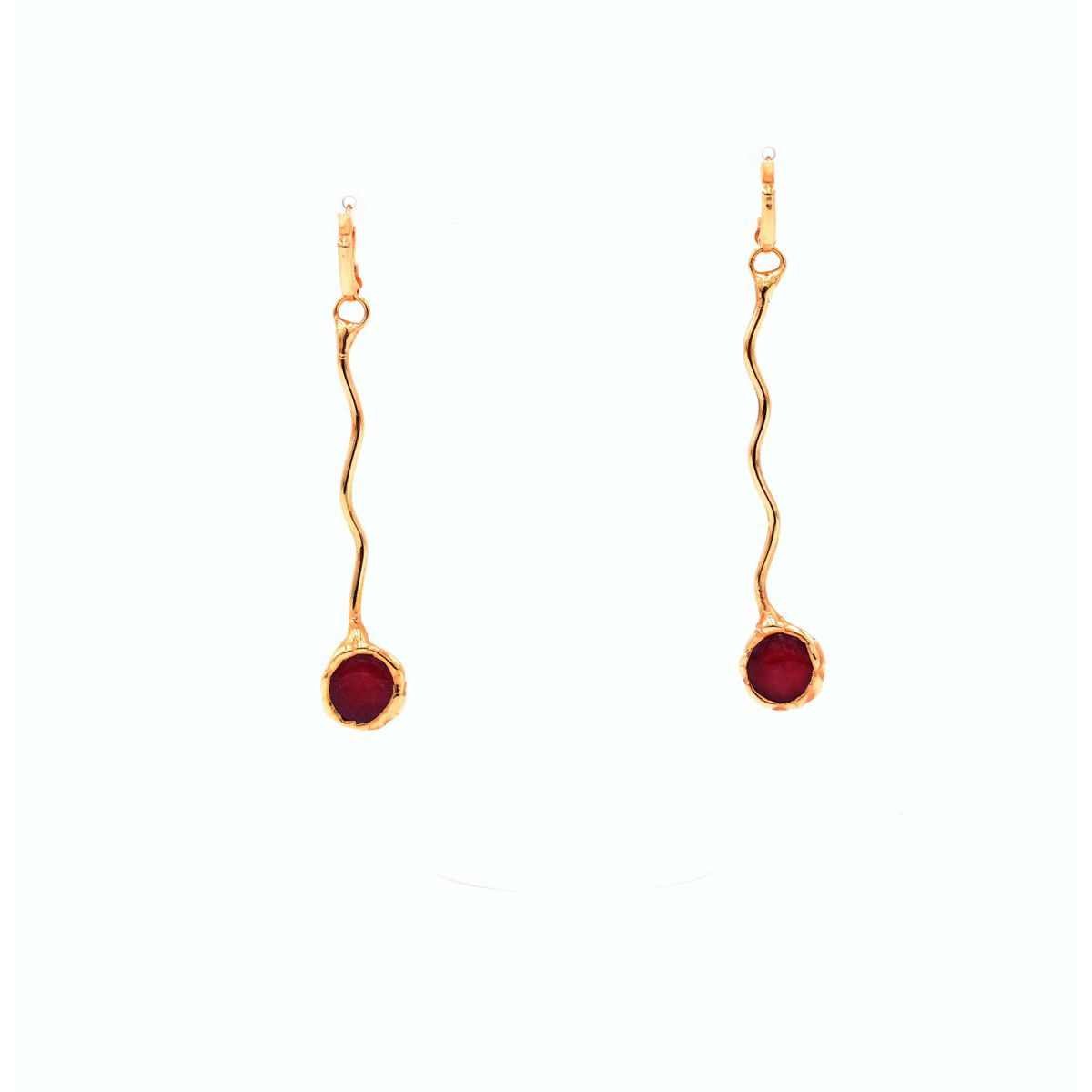 GOLD PENDULOUS EARRINGS WITH RUBY Gold BRASS Gioielli