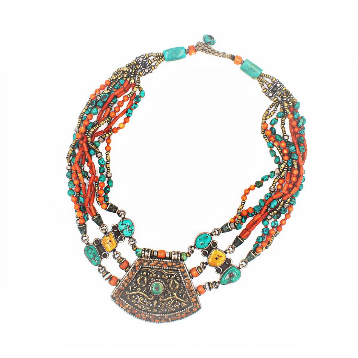ETHNIC CORAL AND TURQUOISE NECKLACE Orange BRASS Gioielli