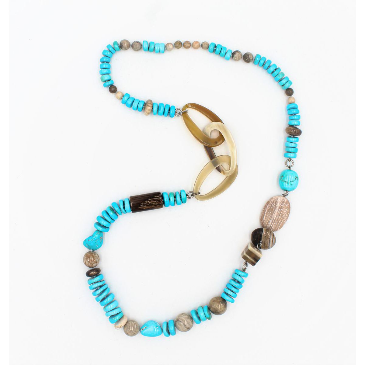 TURQUOISE AND GREY JASPER NECKLACE Turquoise BRASS Gioielli