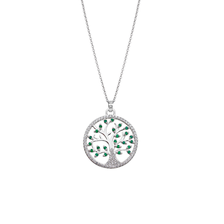 "NECKLACE  ""TREE OF VALUES "" GREEN Silver LOTUS Silver"