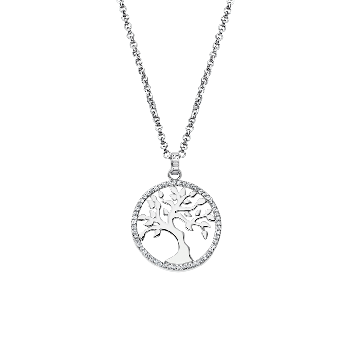 "NECKLACE  ""TREE OF VALUES "" WHITE Silver LOTUS Silver"