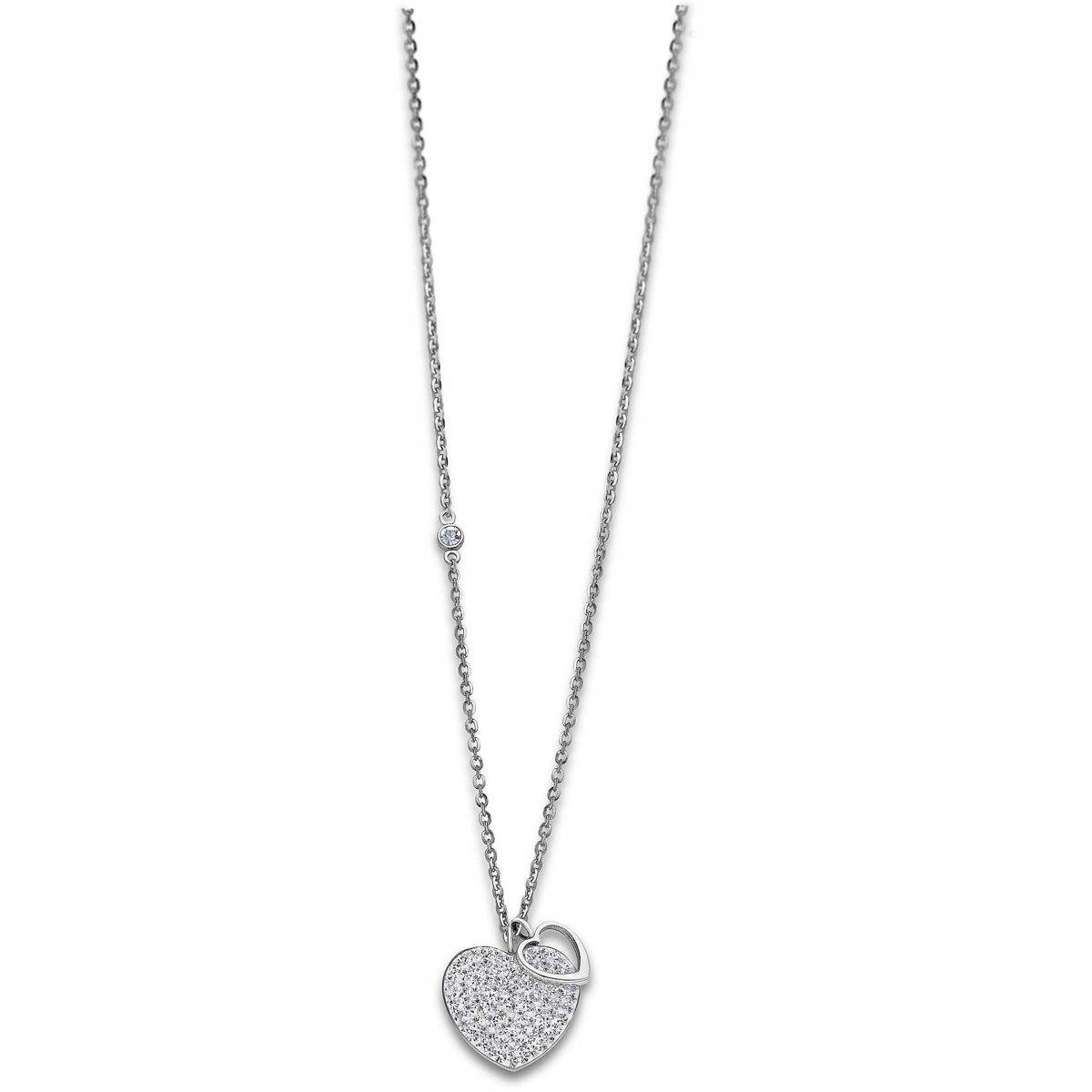 ZIRCONIA HEART NECKLACE White LOTUS Style