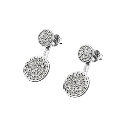 ROUND EARRINGS White LOTUS Silver
