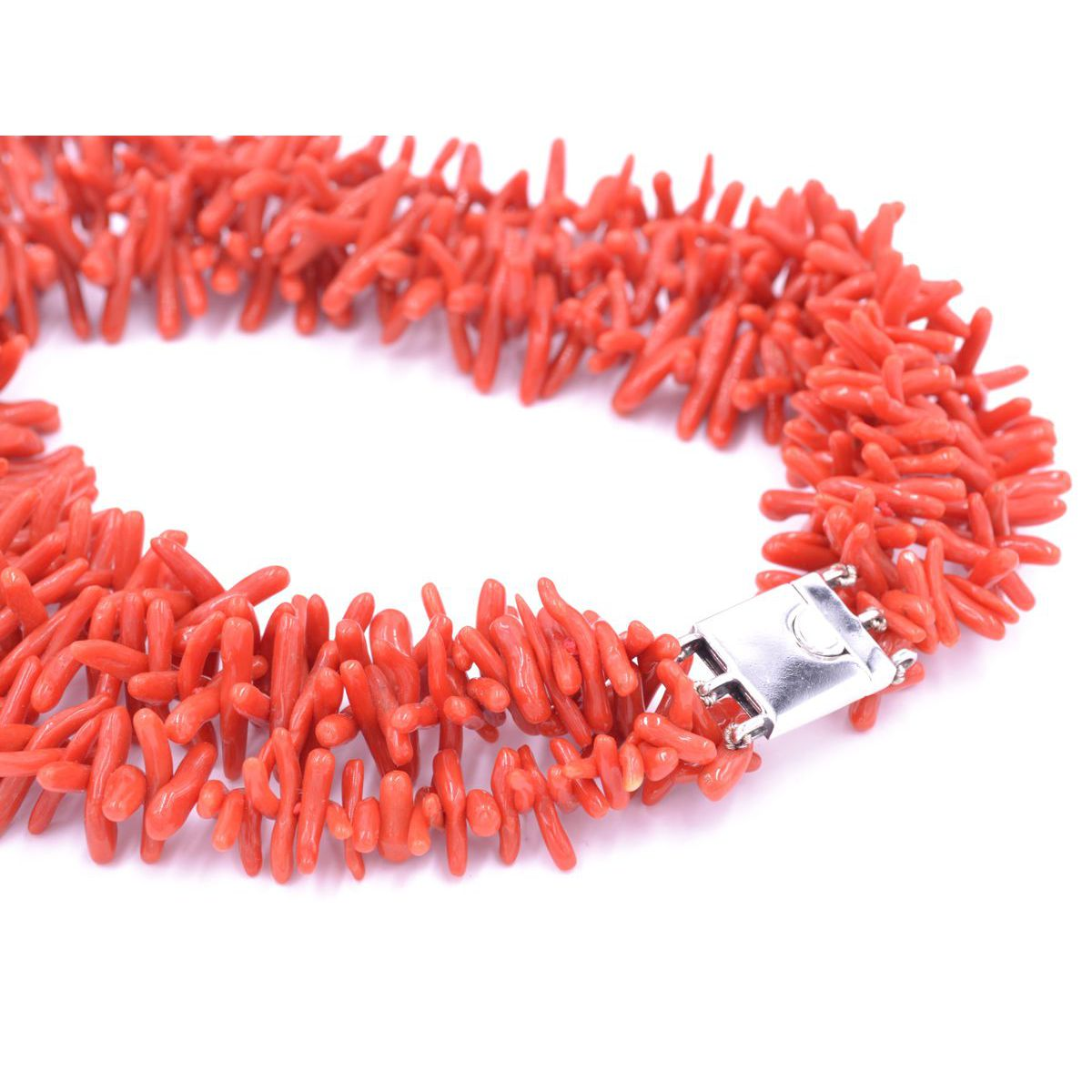 CORAL AND SILVER NECKLACE Red BRASS Gioielli