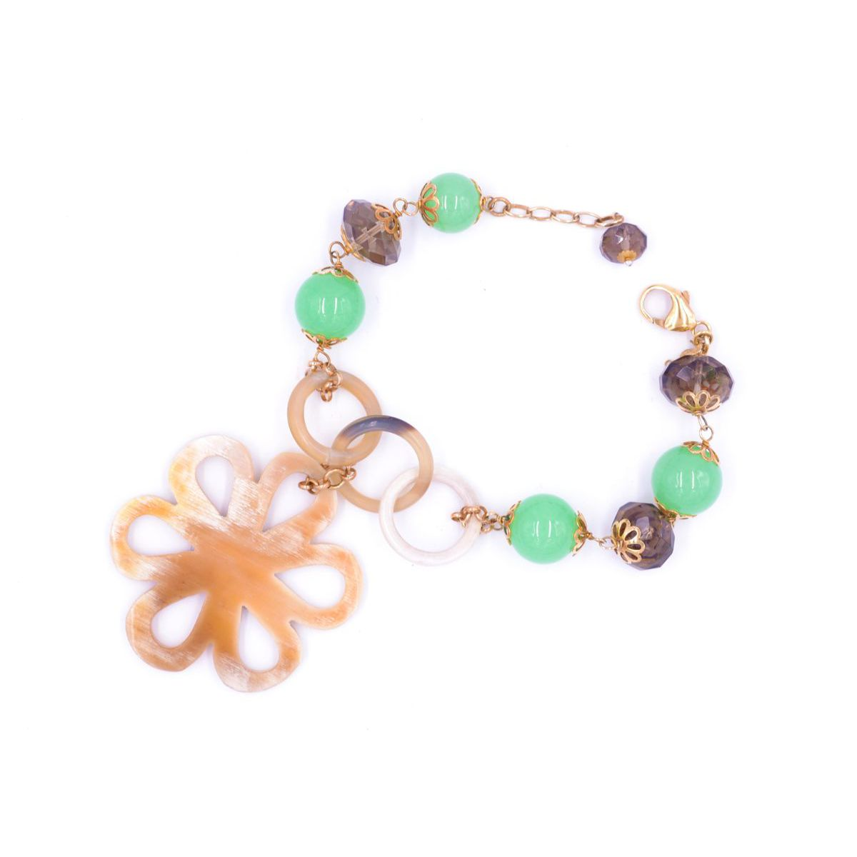 AGATA BRACELET WITH HORN'S FLOWER Green BRASS Gioielli
