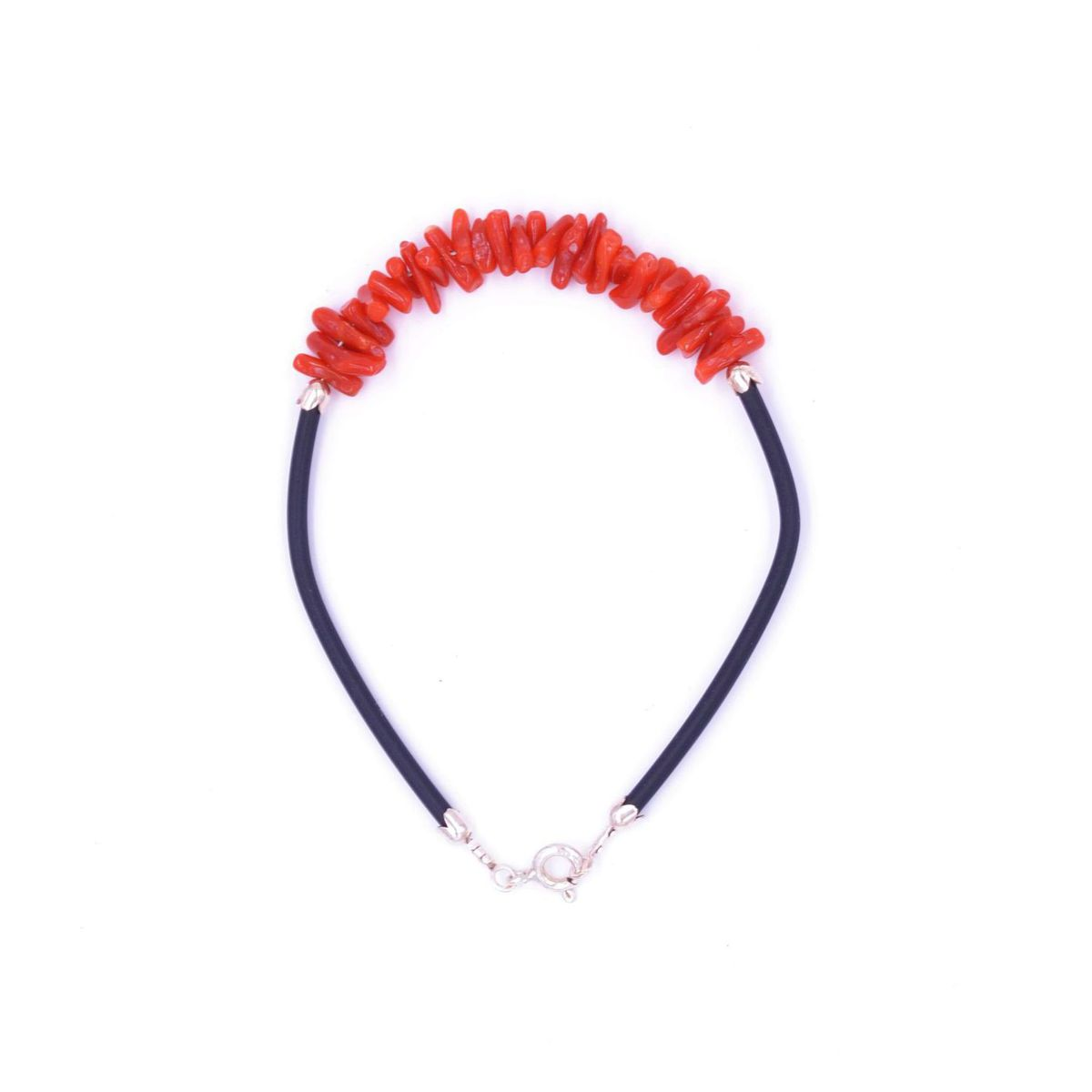 Coral Bracelet and Rubber black Red BRASS Gioielli