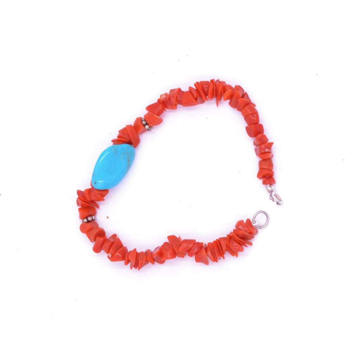 CORAL BRACELET WITH TURQUOISE STONE Red BRASS Selection