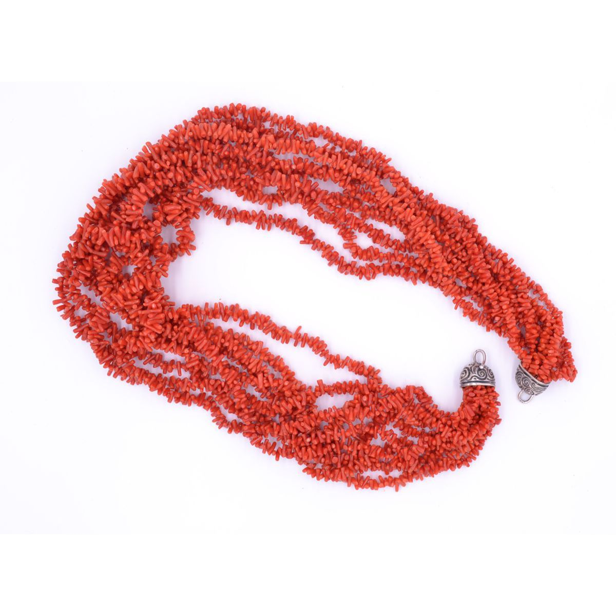 NECKLACE 9 STRANDS CORAL Red BRASS Selection