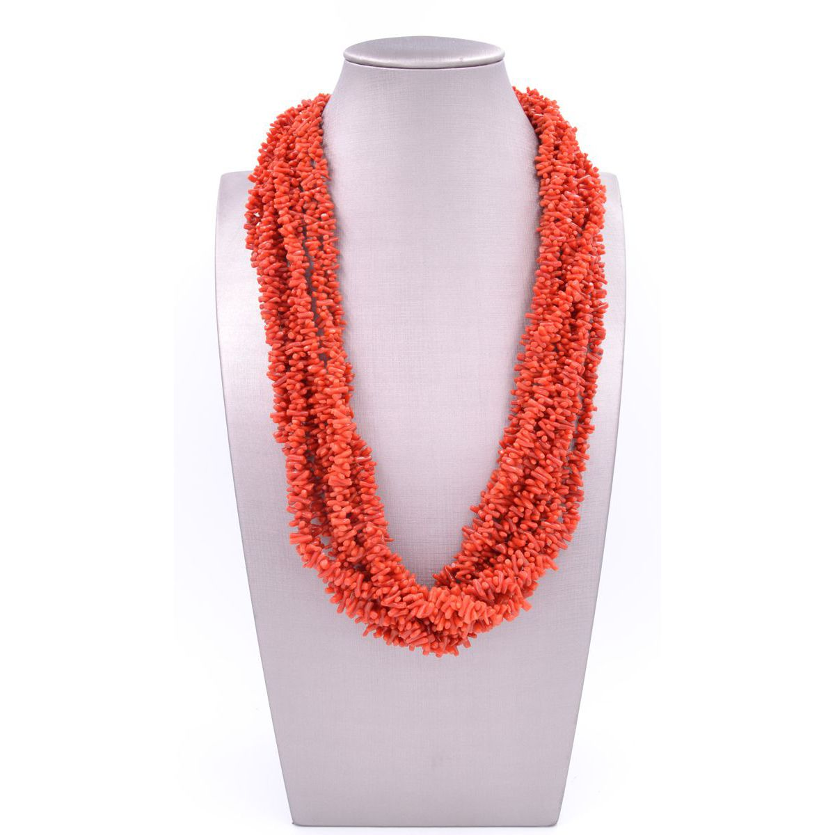 NECKLACE 9 STRANDS CORAL Red BRASS Gioielli