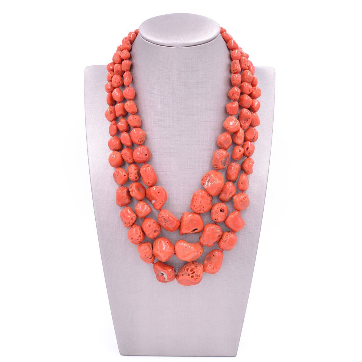 Three-strand Coral Necklace Red BRASS Gioielli