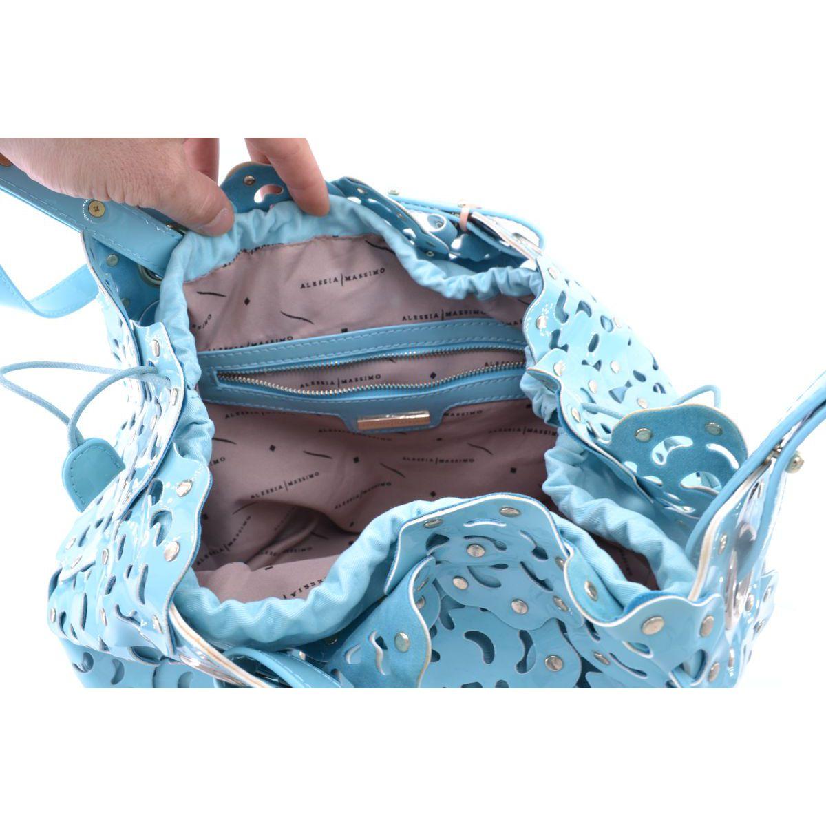 Bag st pvc stylized flowers Light blue BRASS Workshop