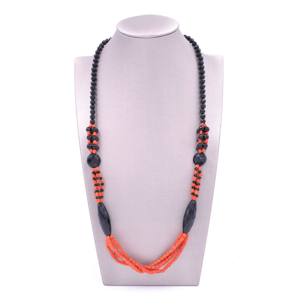 NECKLACE ONYX AND CORAL Black BRASS Selection