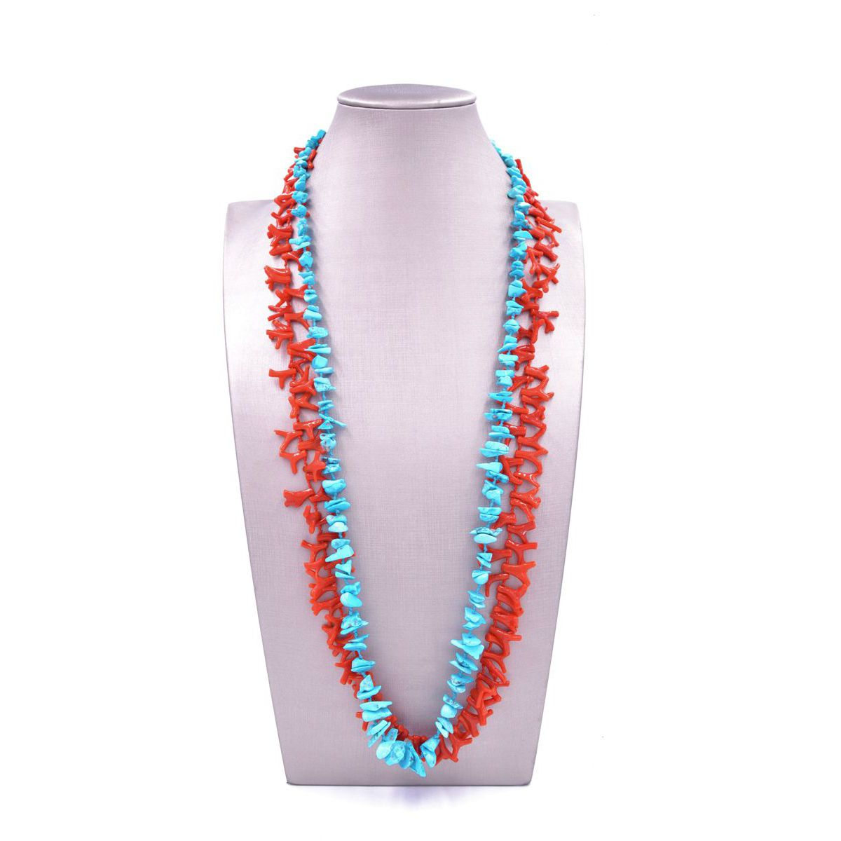 TURQUOISE AND CORAL NECKLACE Turquoise BRASS Selection