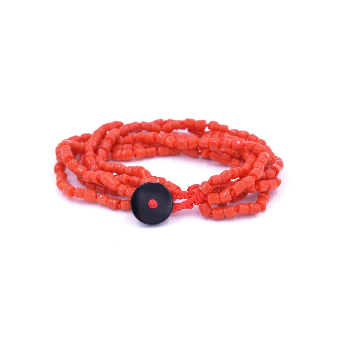 Coral 6wire Bracelet Red BRASS Gioielli