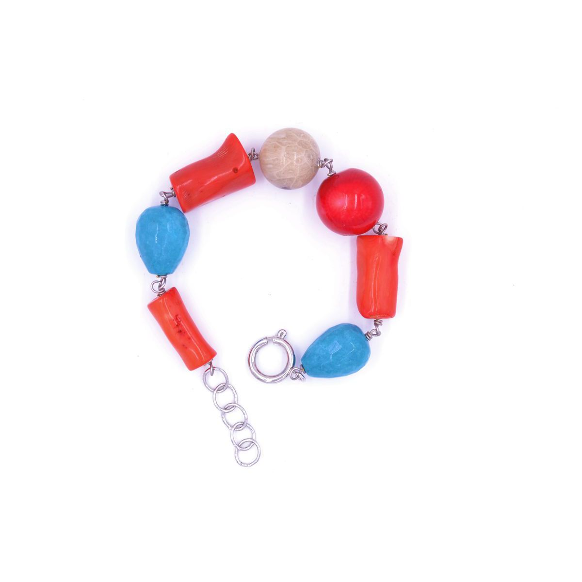 CORAL BAMBOO AND DIASPRO BRACELET Orange BRASS Selection