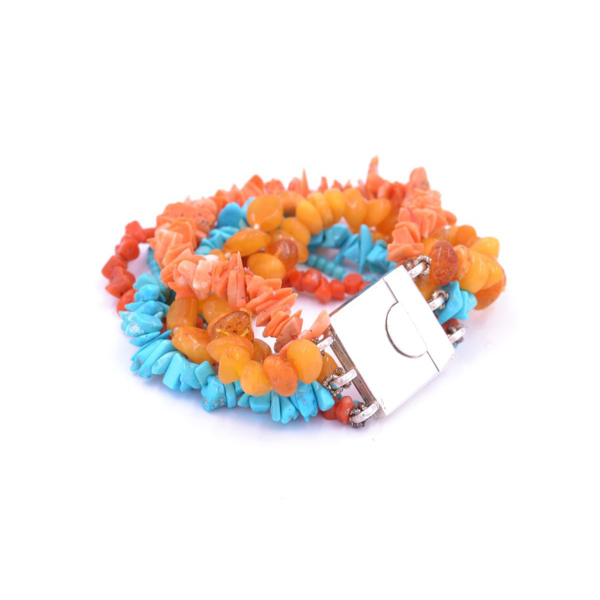 CORAL/AMBER/TURQUOISE BRACELET Orange BRASS Selection