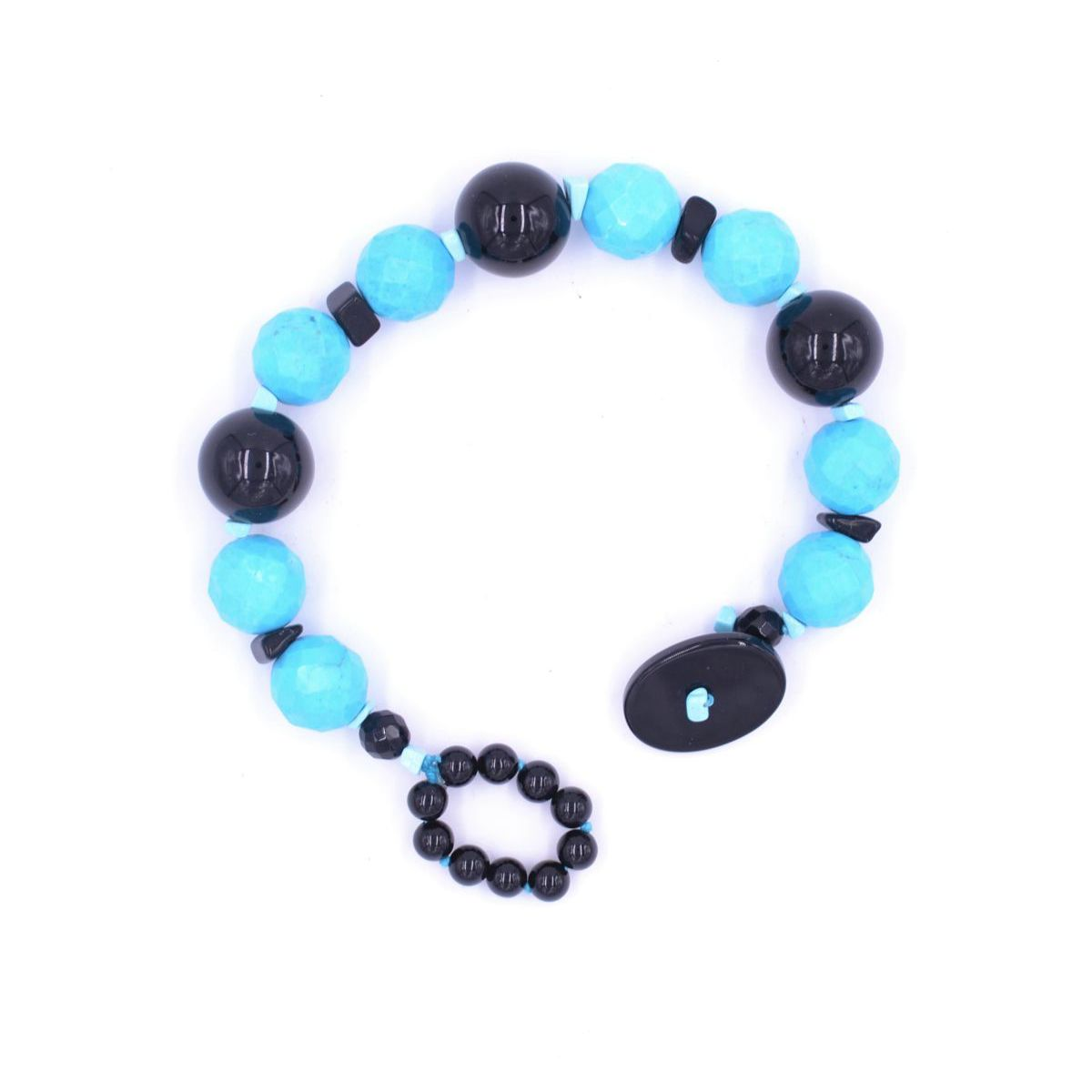 TURQUOISE AND ONYX BRACELET Turquoise BRASS Gioielli