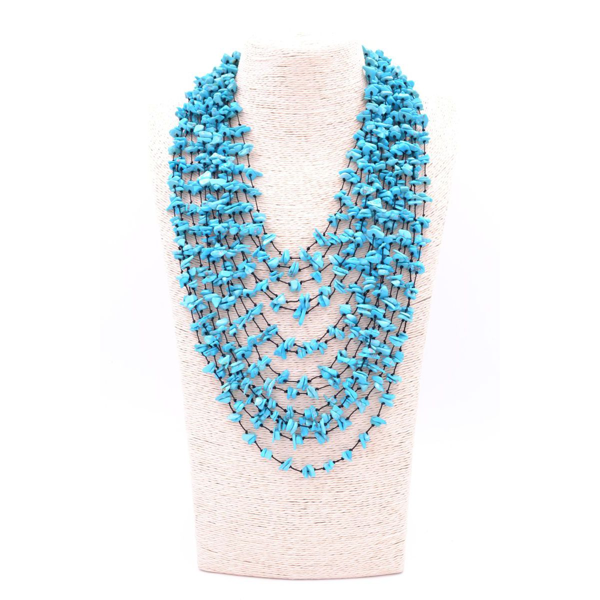TURQUOISE MULTIFILE NECKLACE Turquoise BRASS Gioielli