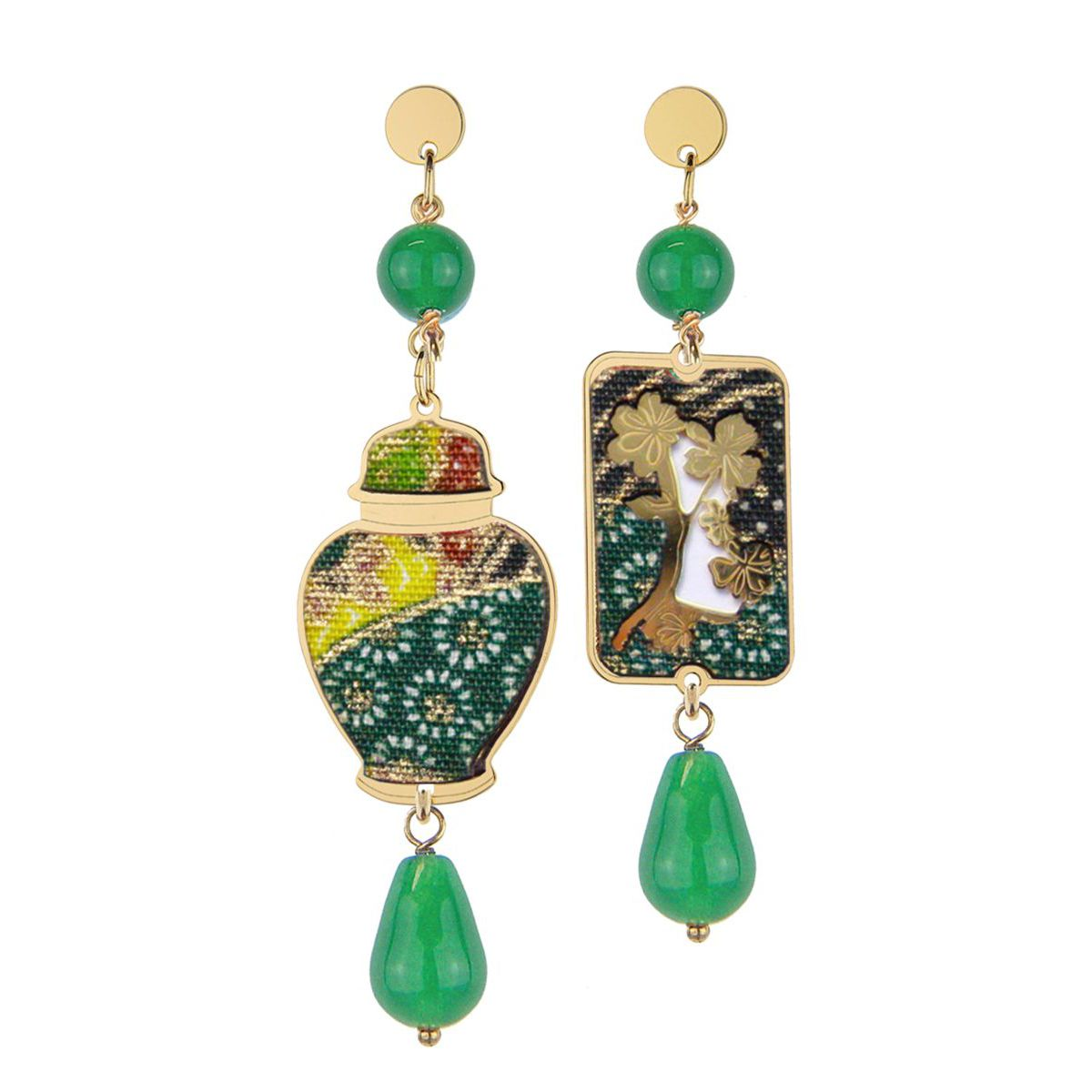 GREEN POTICHE BIG EARRINGS Green LEBOLE GIOIELLI